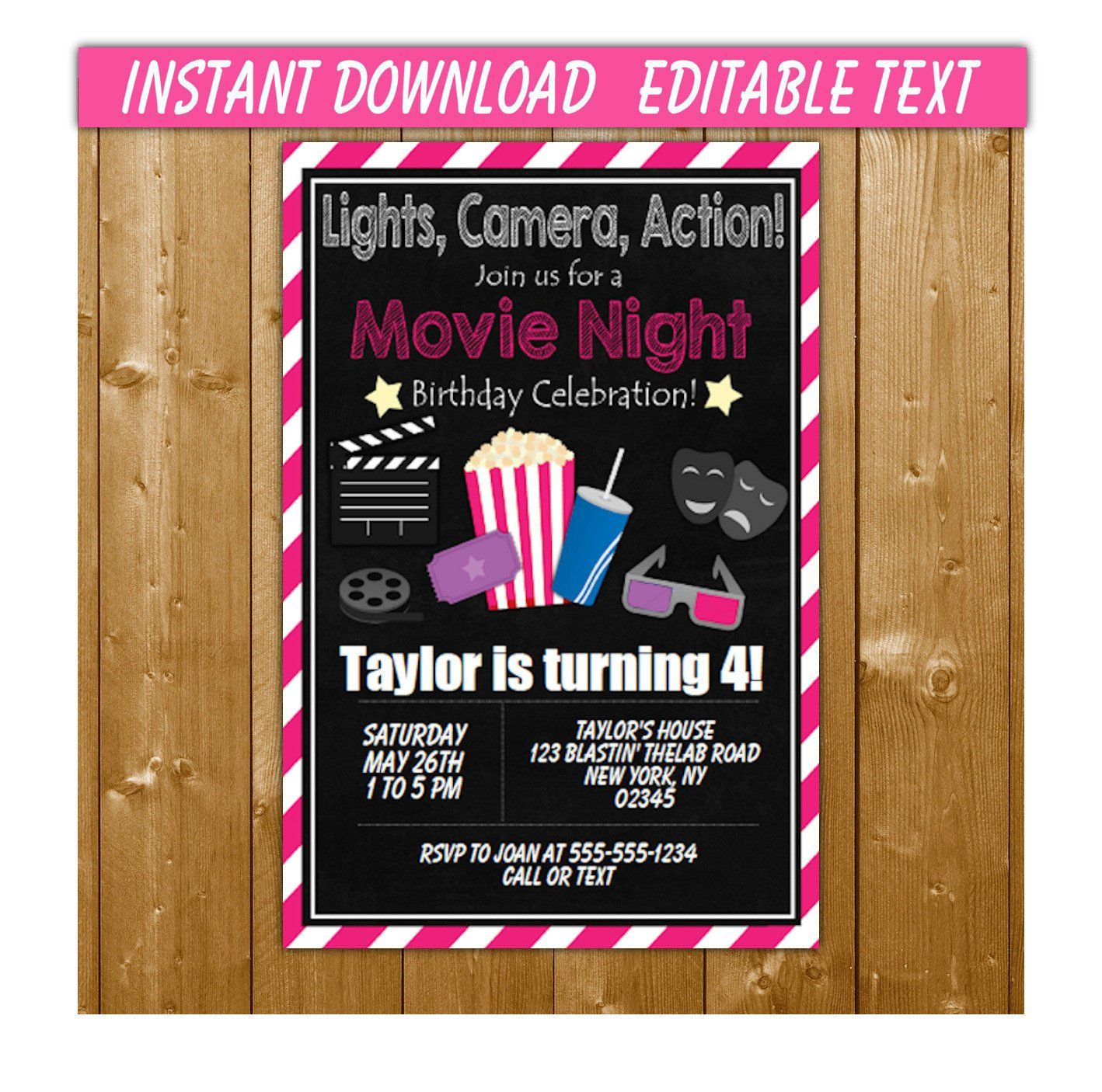 movies birthday invitation instant download movie party invitation
