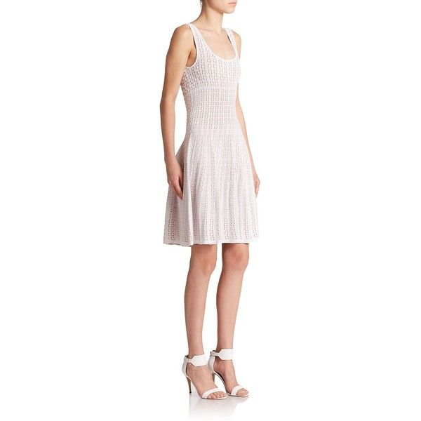 RVN Shibori Knit Dress ($200) ❤ liked on Polyvore featuring dresses, apparel & accessories, embellished dresses, shibori dress, scoop neck dress, knit skater skirt and patterned skater skirt