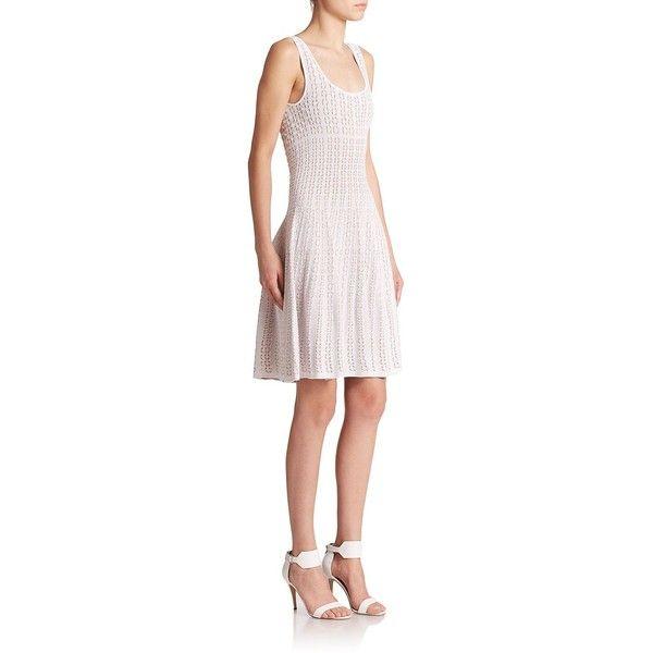 RVN Shibori Knit Dress ($200) ❤ liked on Polyvore featuring dresses, apparel & accessories, embellished dresses, shibori dress, scoop neck dress, knit skater skirt and patterned skater skirt