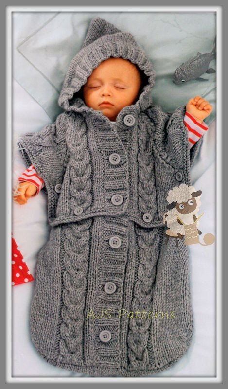 5a0b4dfdafef PDF Knitting Pattern for a Baby s Sleeping Bag Sack or Cocoon in ...