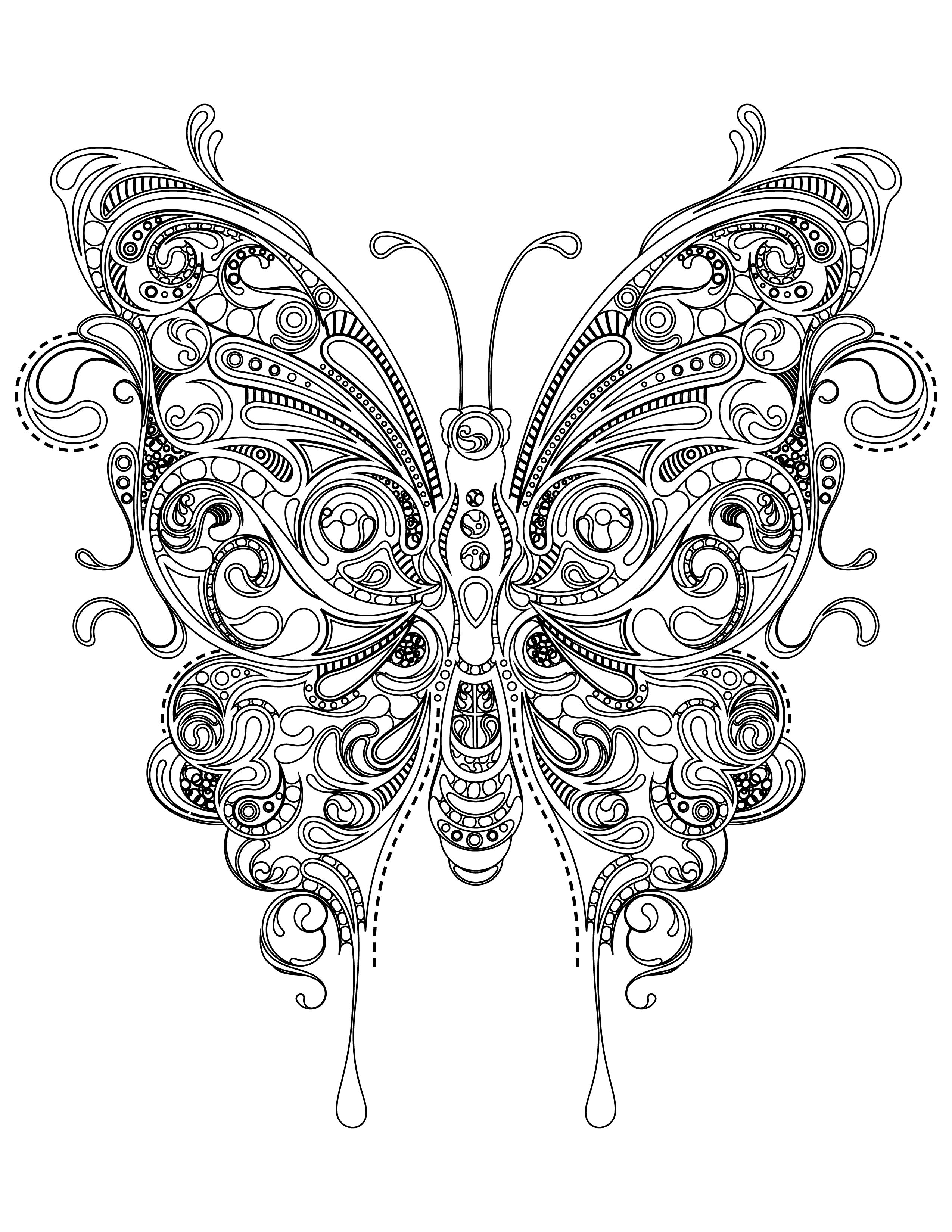 Coloriage papillon tr s difficile imprimer adult coloring butterfly and mandala - Madala a imprimer ...