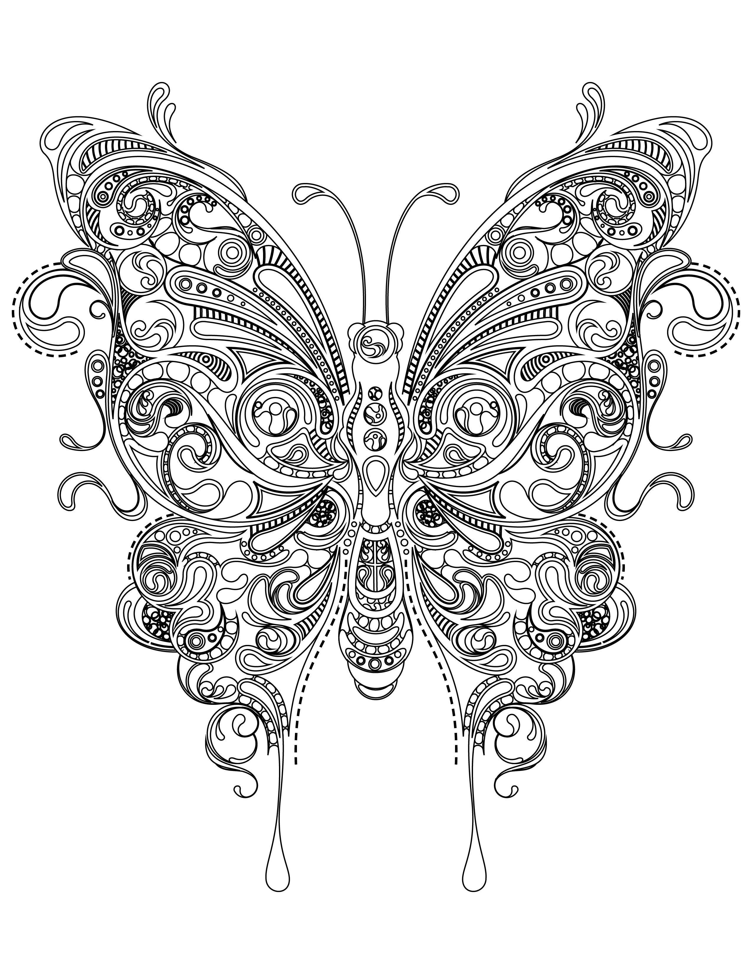 Coloriage papillon tr s difficile imprimer butterfly - Coloriage a imprimer mandala ...