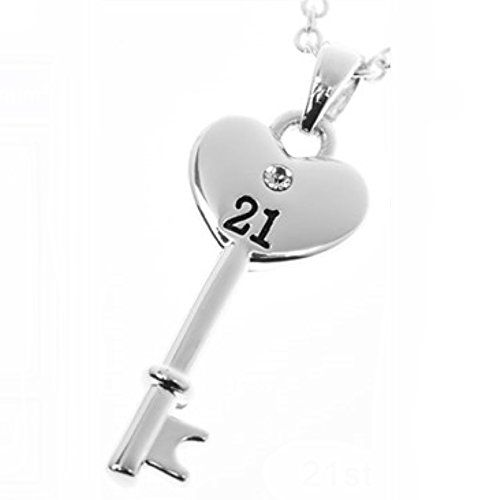 Equilibrium Silver Plated Key Pendant 21st Birthday Necklace (54411) 7z1dE
