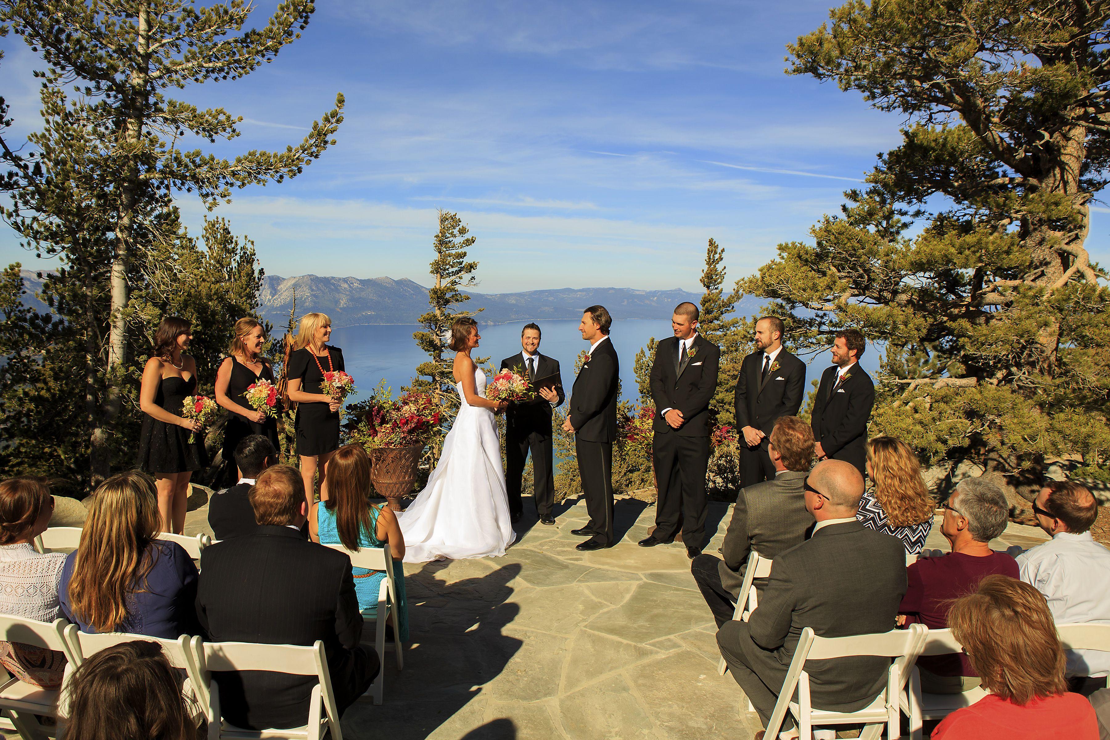 Wedding Ceremony At Mountain Top Location Of Heavenly Gondola Lake Tahoe Wedding Venues Tahoe Wedding Venue Tahoe Wedding