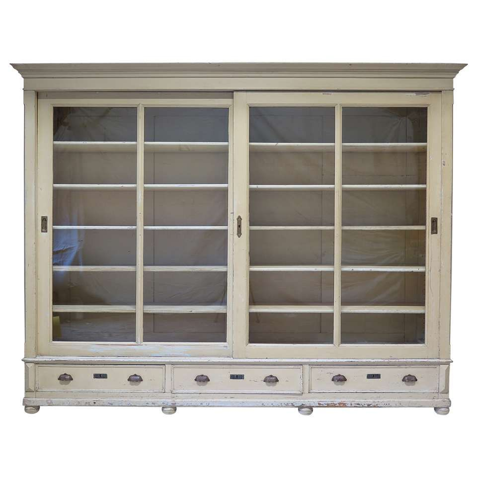 Elegant Bookcase With Sliding Glass Doors France Early 20th