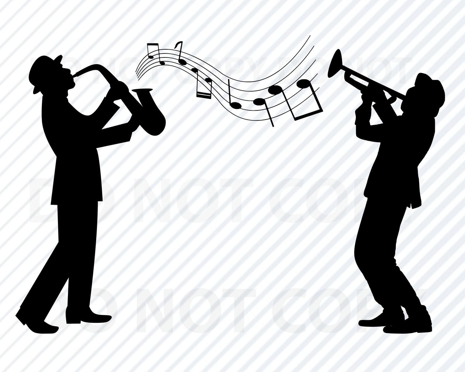 Jazz Band Svg Files For Cricut Silhouette Clipart Saxophone Svg Image Musical Notes Svg Eps Saxophone Png Dxf Clip Art Jazzpng Jazz Saxophone Jazz Band