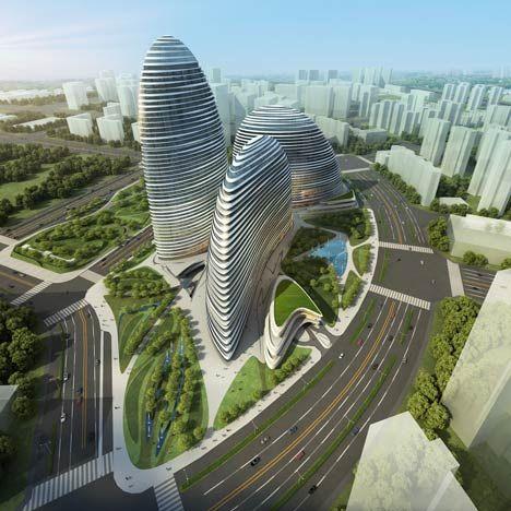 Stries dans l'architecture Wangjing Soho de Zaha Hadid, composé de trois volumes en forme de galet jusqu'à 200 mètres de haut. Pékin, Chine, fin des travaux 2014.