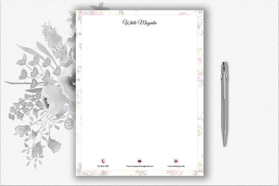 Floral Design Letterhead Template | Personal Stationery Print Ready ...