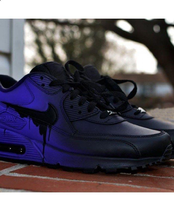 newest 7e06b cc4df Nike Air Max 90 Candy Drip Gradient Black Purple Trainer