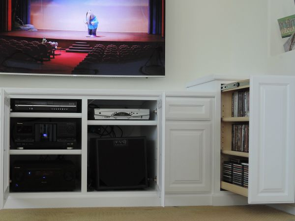 Custom Built In Media Center Credenza With Vertical Pullout DVD Storage  Drawer
