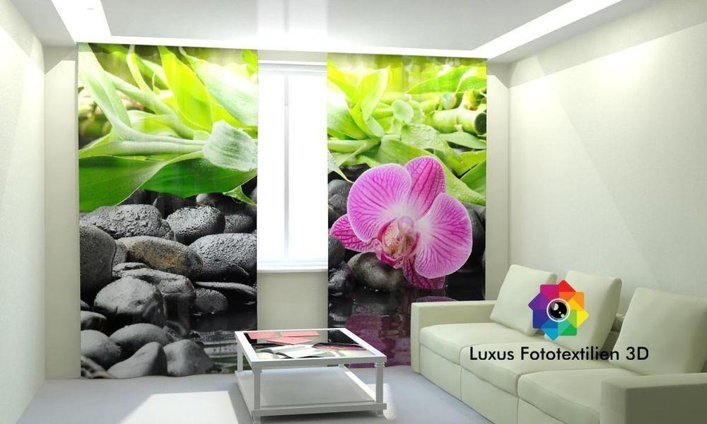 Fotogardine Orchidee Foto Vorhang Gardine Vorhänge In Luxus Fotodruck 3D.