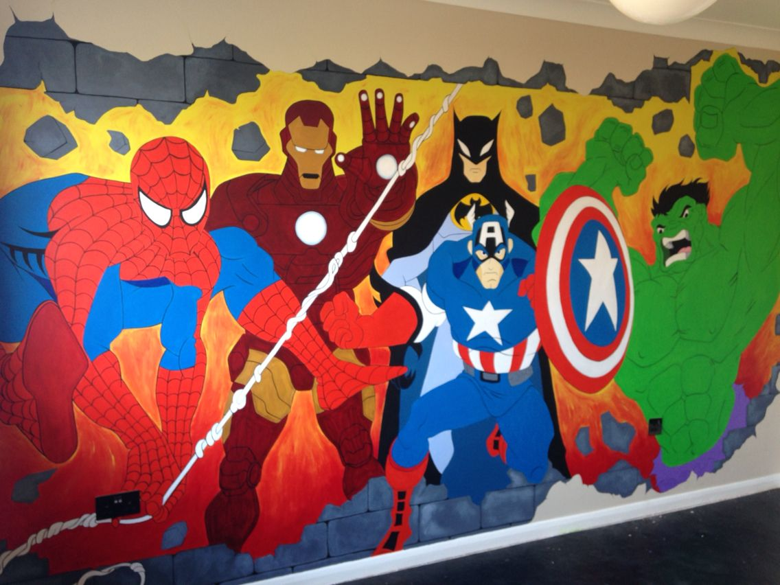 My sons bedroom wall mural spiderman batman ironman for Batman bedroom wall mural