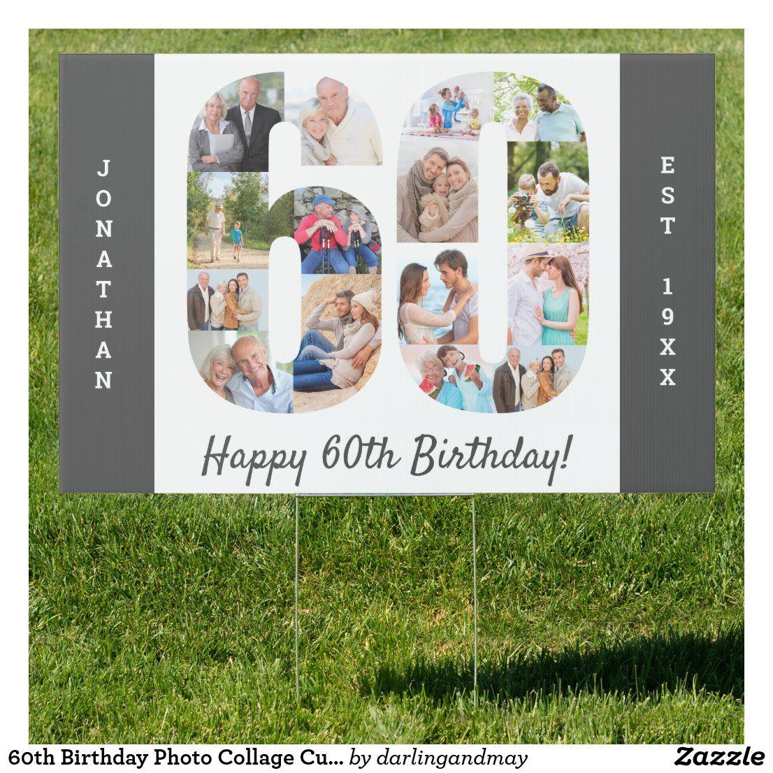60th birthday photo collage custom yard sign