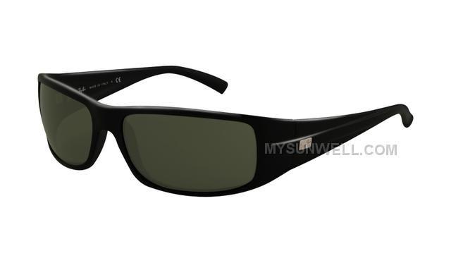 6cb82c276356 Ray Ban RB4057 Sunglasses Matte Black Frame Crystal Green Lens ...