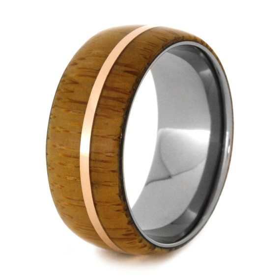 Men Or Womens Bamboo Ring Titanium Wedding Band With Bamboo And A 14k Rose Gold Pinstripe Titanium Wedding Band Mens Wedding Rings Titanium Rings