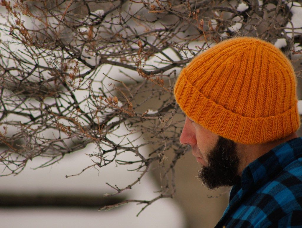f680ff038b9 DOMESTIC STRATA    Jason Garber wearing hand knit Two-By-Two free knitting  pattern hat for men.