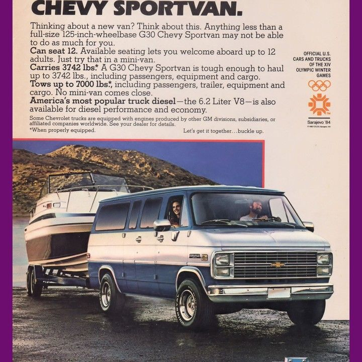 1984 Chevrolet Van Sports Olympics Sarajevo Winter Vintage Ad From
