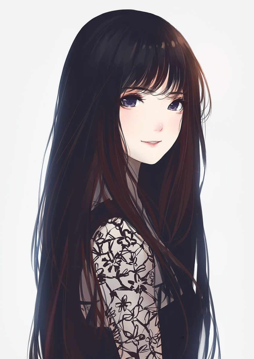 Anime girl art dark brown hair