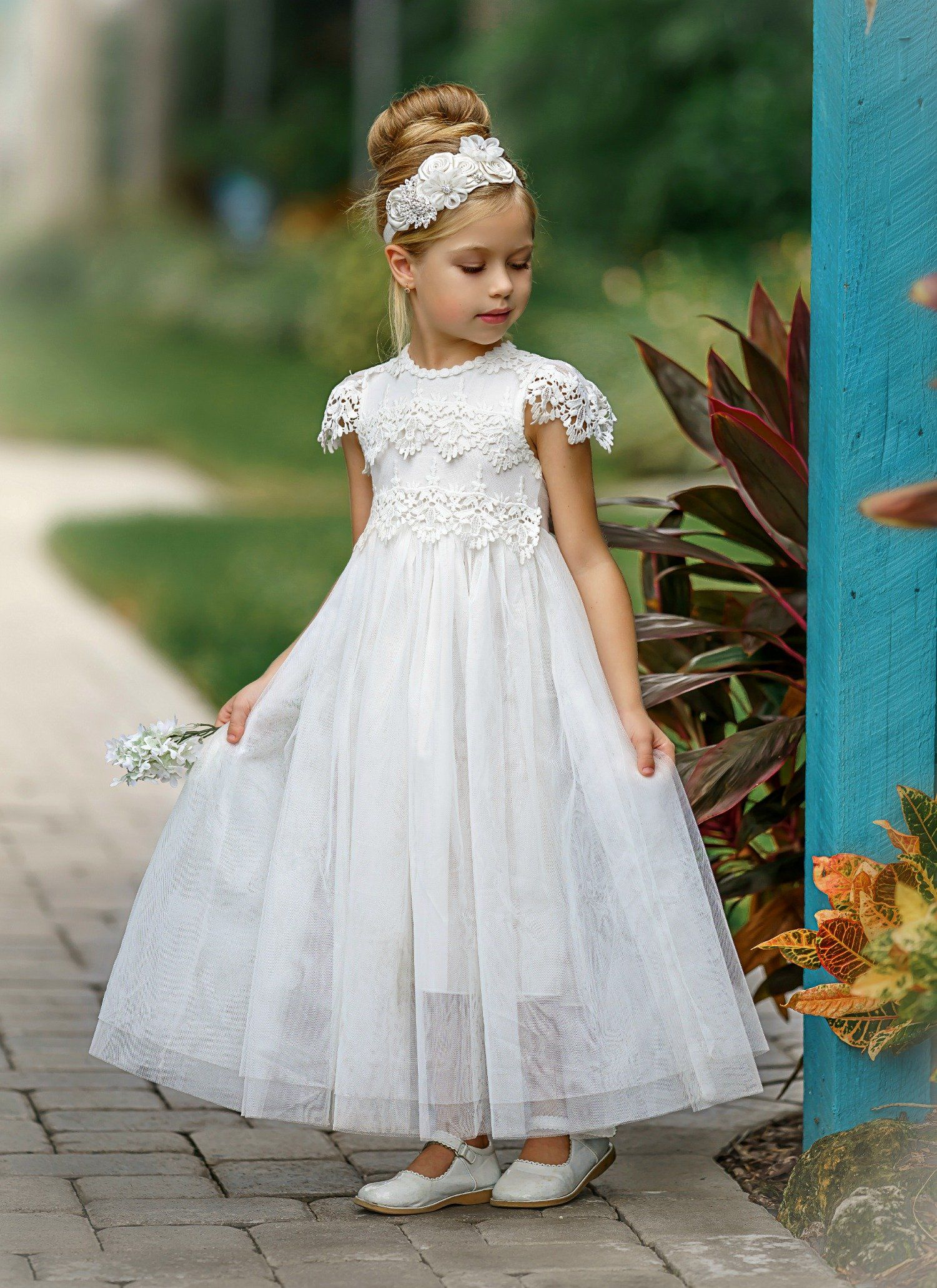 Luciana Long Cap Sleeve Lace Flower Girl Dress Off White Think Pink Bows Flower Girl Dresses Flower Girl Dress Lace White Flower Girl Dresses [ 2062 x 1500 Pixel ]