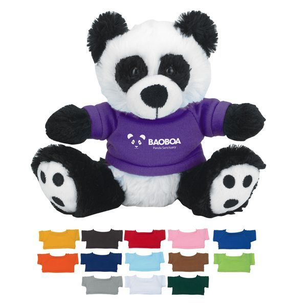 6 Plush Big Paw Panda w Shirt  Custom Stuffed Animals 14 Popular Shirt ColorsThese Cute Cuddly Animals Are A Great Way To Show Your Logo And Get Your Me
