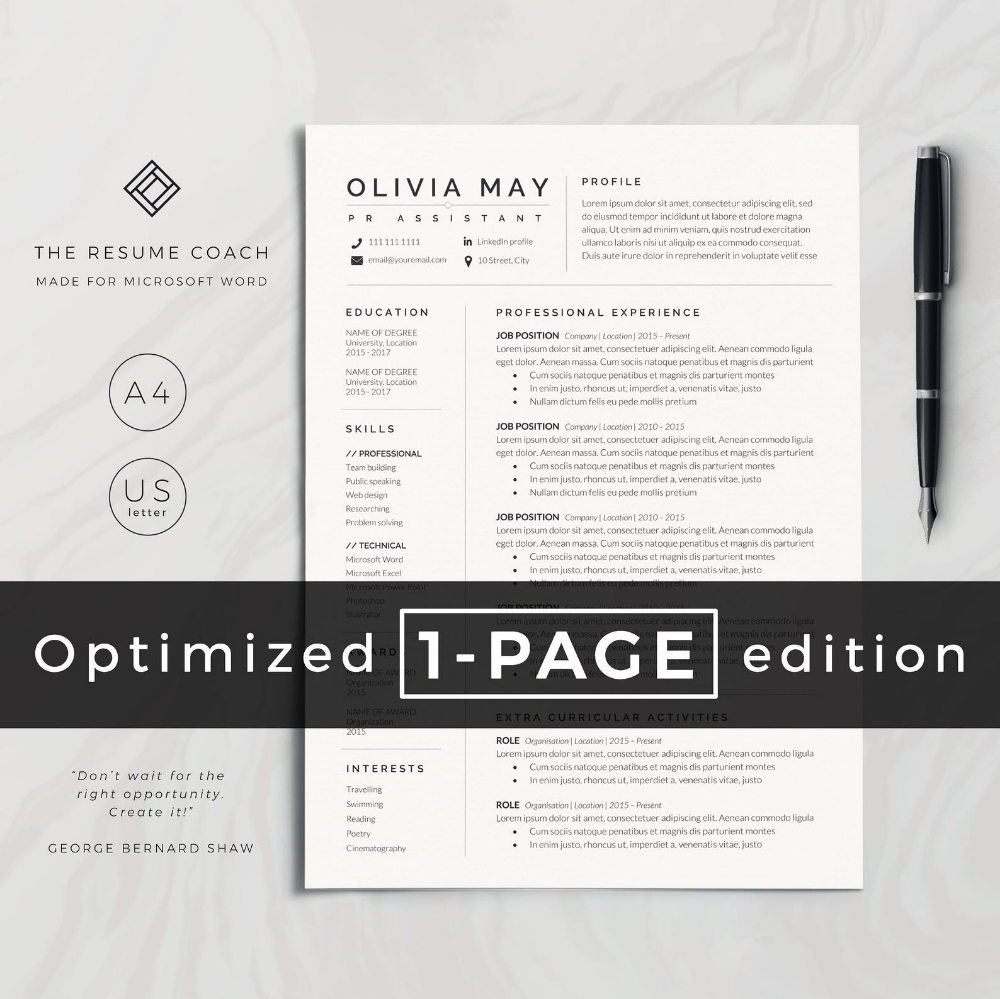 Resume Template, Professional Resume, CV Template, Modern