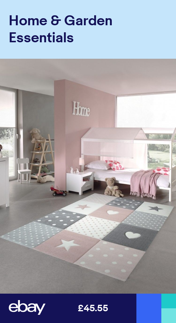 Kids Rug Play Carpet Kids Room Baby Rug Star Heart In Pink White Gray Girls Bedroom Rug Kids Bedroom Flooring Baby Rugs
