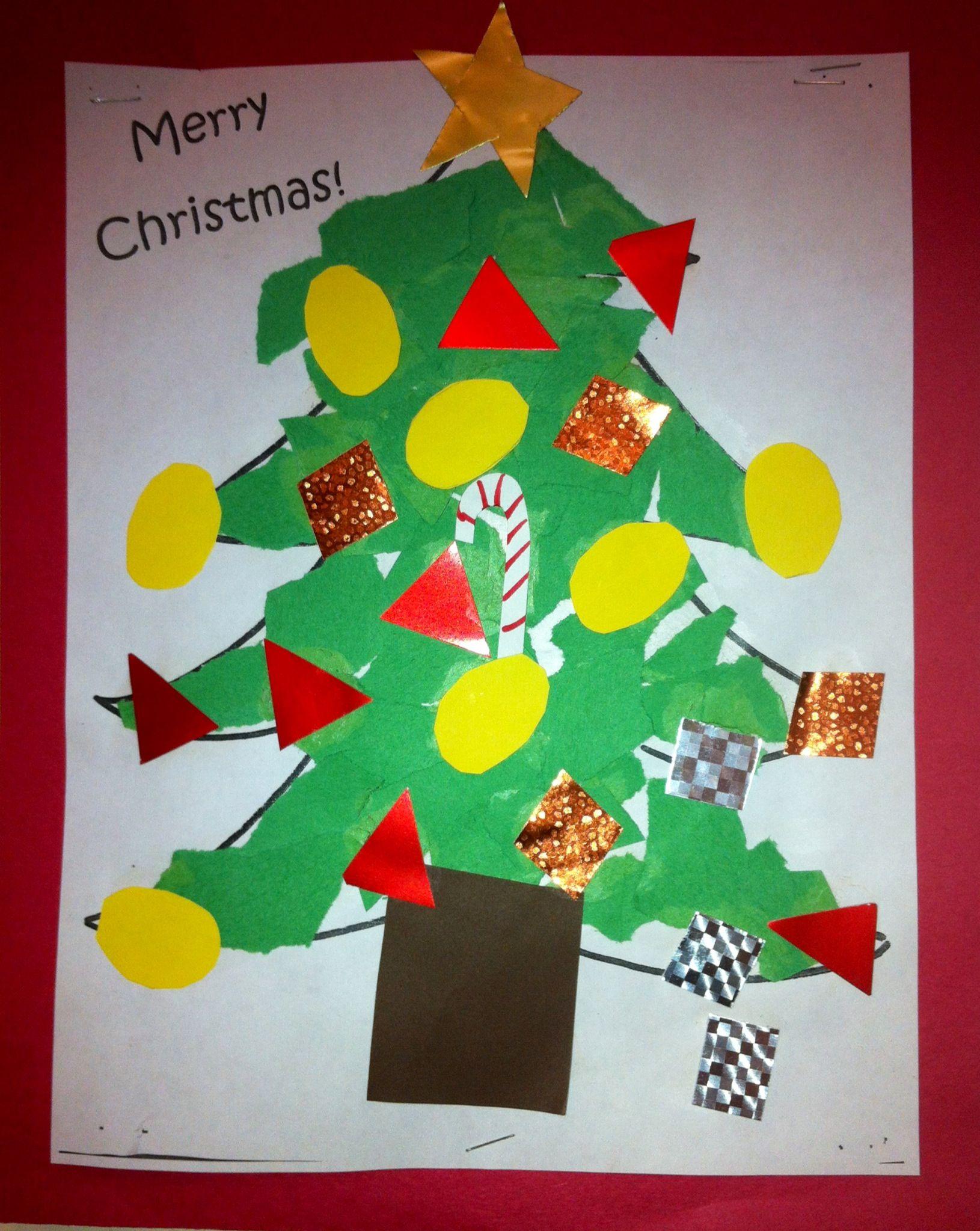 Kindergarten Art Ripped Paper Christmas Tree Art Teacher