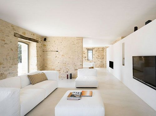 moderne-woonkamer-bakstenen-muur | Inrichting | Pinterest