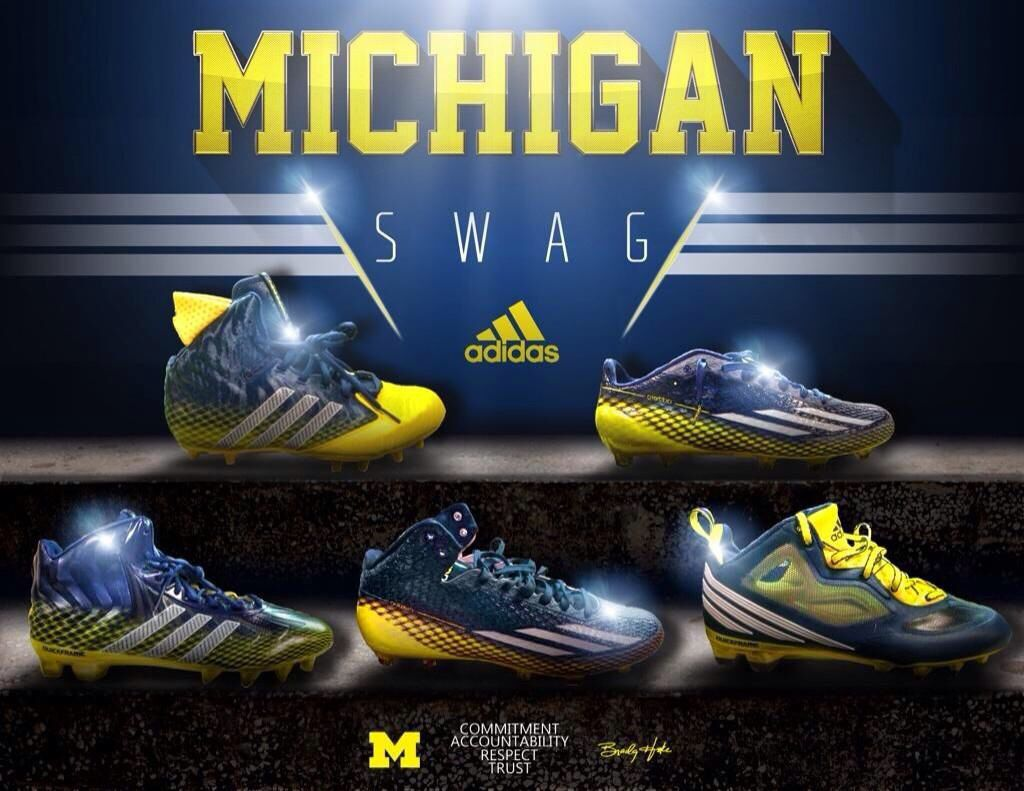 Michigan Football S Cleats For The 2014 Season Michigan Go Blue Go Blue Maize And Blue