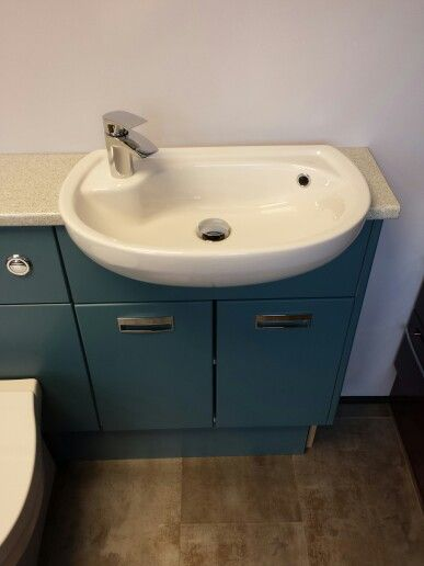 Delightful Teal Units With Matese Short Projection Basin