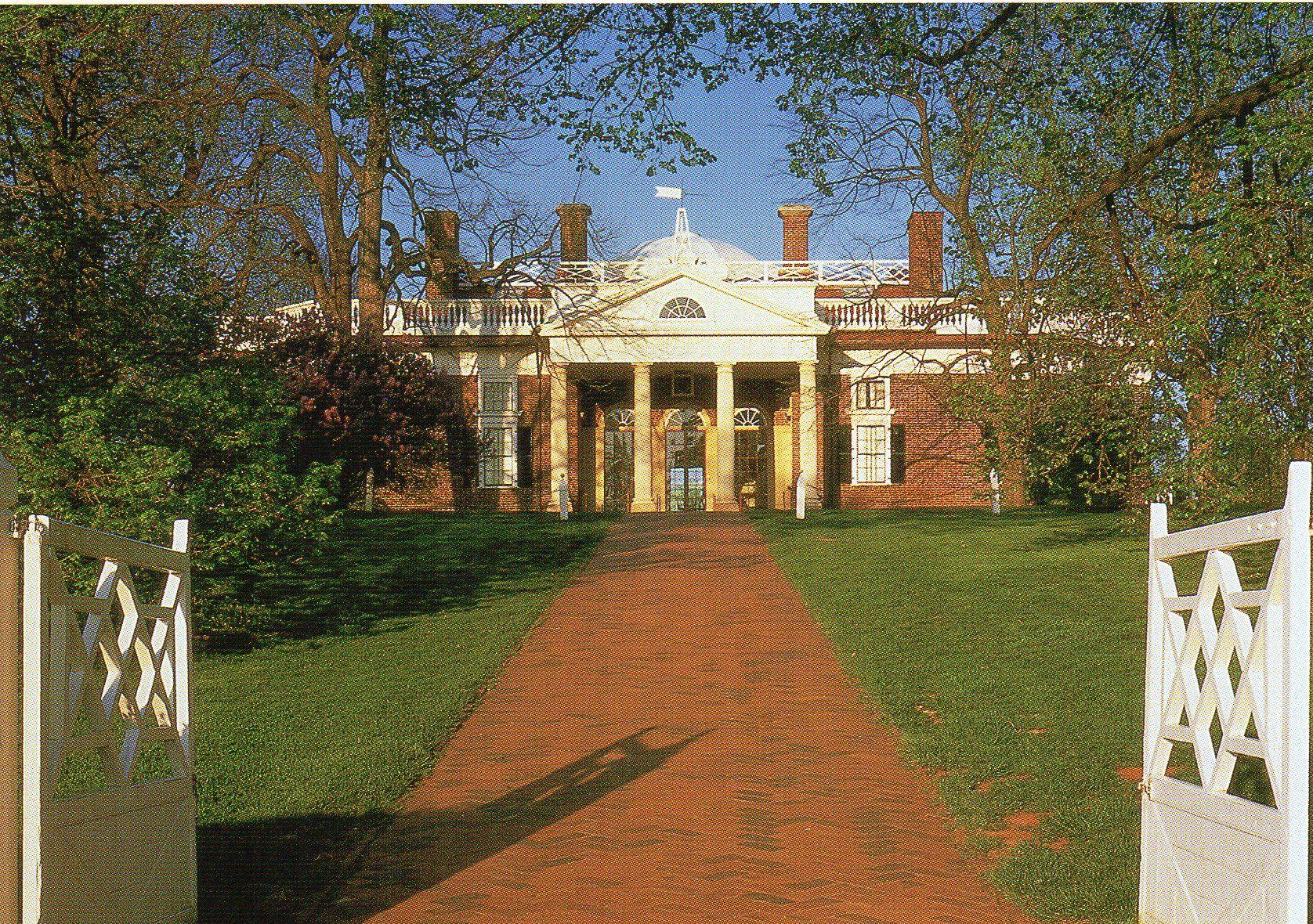 Front entrance of Monticello, Charlottesville, VA. Photo