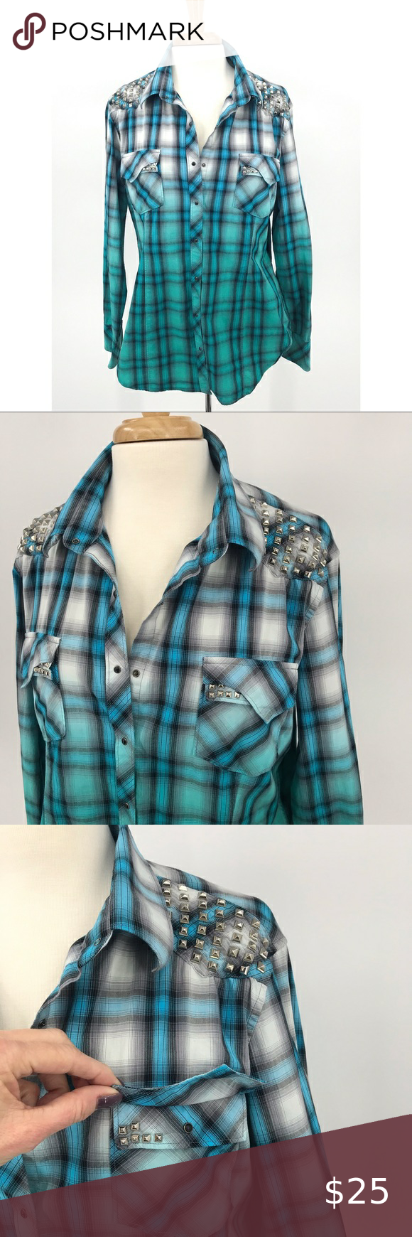 Rock and Roll Cowgirl studded shirt Sz XL Rock and Roll Cowgirl studded shirt Sz XL. Gorgeous color way, light fading into darker. All studs & buttons intact. Sleeves can be rolled. Preowned, last pic shows only flaw, several small holes in the back. Rock & Roll Cowgirl Tops Button Down Shirts #rockandrolloutfits
