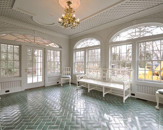 Vintage style floor tile tile floor custom colored for Solarium flooring
