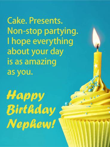 Yellow Cupcake Happy Birthday Cake For Nephew Birthday Greeting Cards By Davia Birthday Card For Nephew Happy Birthday Nephew Nephew Birthday
