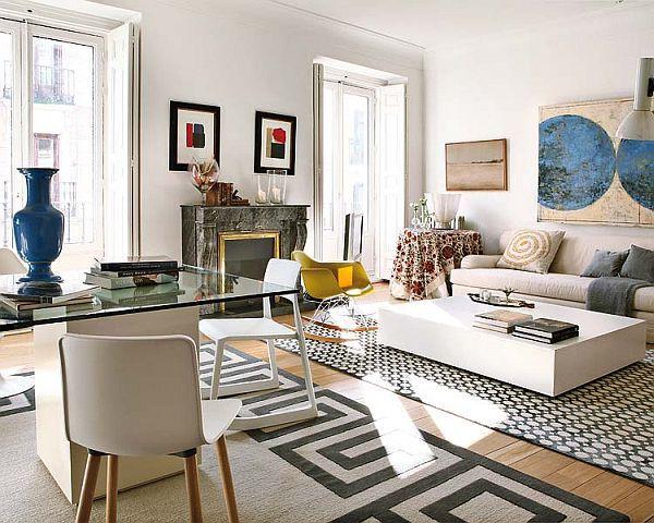 Open Space Apartment Interior Design In Madrid Living Room