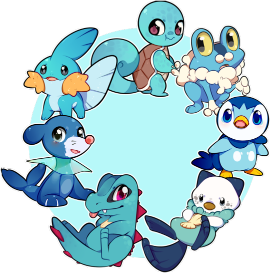 all of the water type starters together because why not pokemon