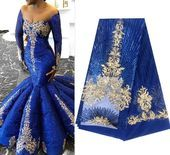 Royal Blue French African Lace Fabric Guipure Lace Sequined Cotton Cord Tulle Nigerian Tissu Mesh India Lace for Wedding Dress D018 #nigeriandressstyles