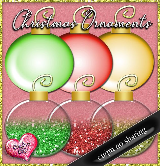 Christmas Ornaments Free to use Elements Click link to download
