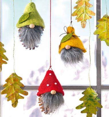 DIY autumn gnome decor with felt and pine cones (tomte)   Őszi