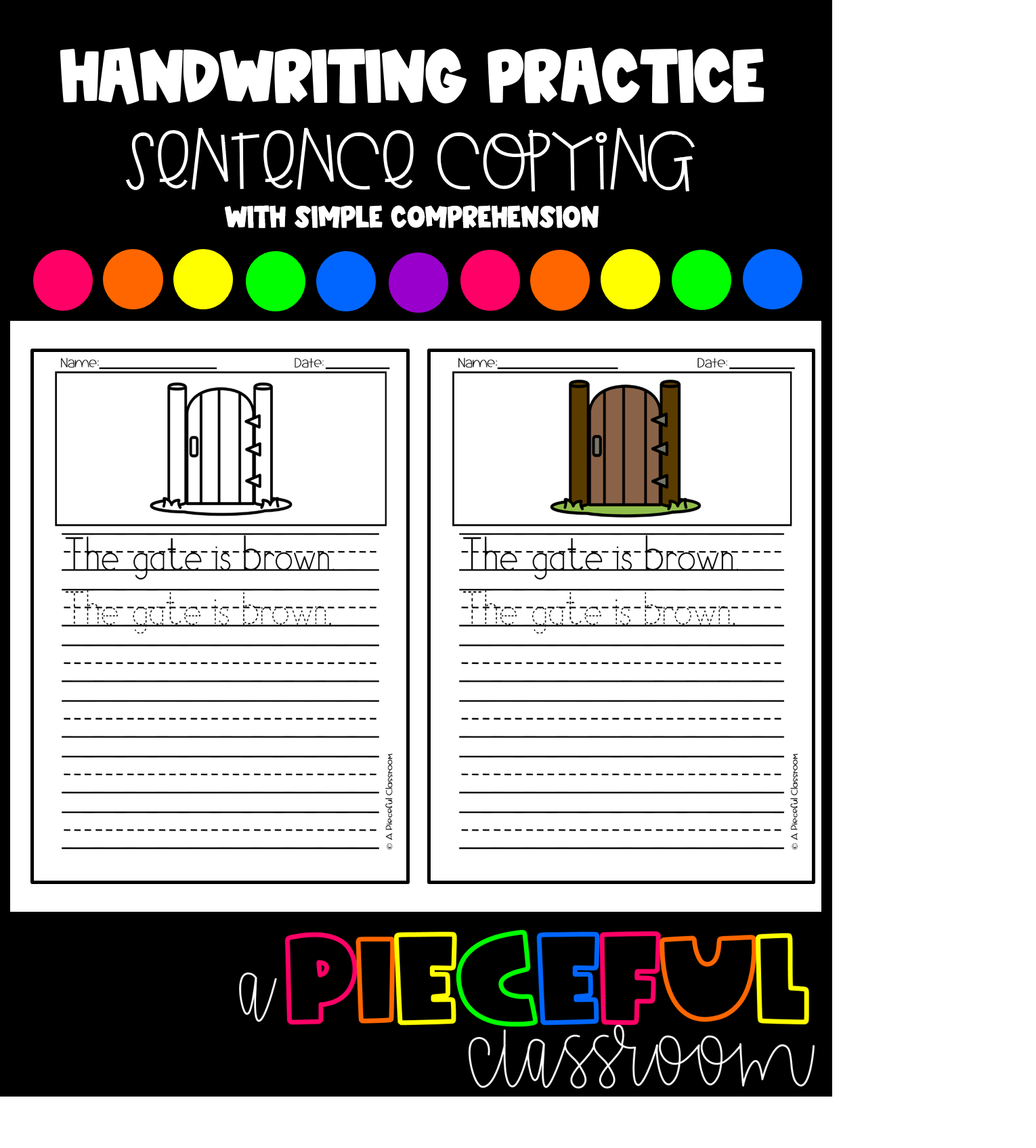 Sentence Copying Handwriting Practice Amp Simple