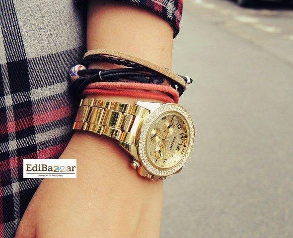 Zloty Srebrny Zegarek Geneva Cyrkonie Damski Italian Charm Bracelet Charm Bracelet Boho Fashion