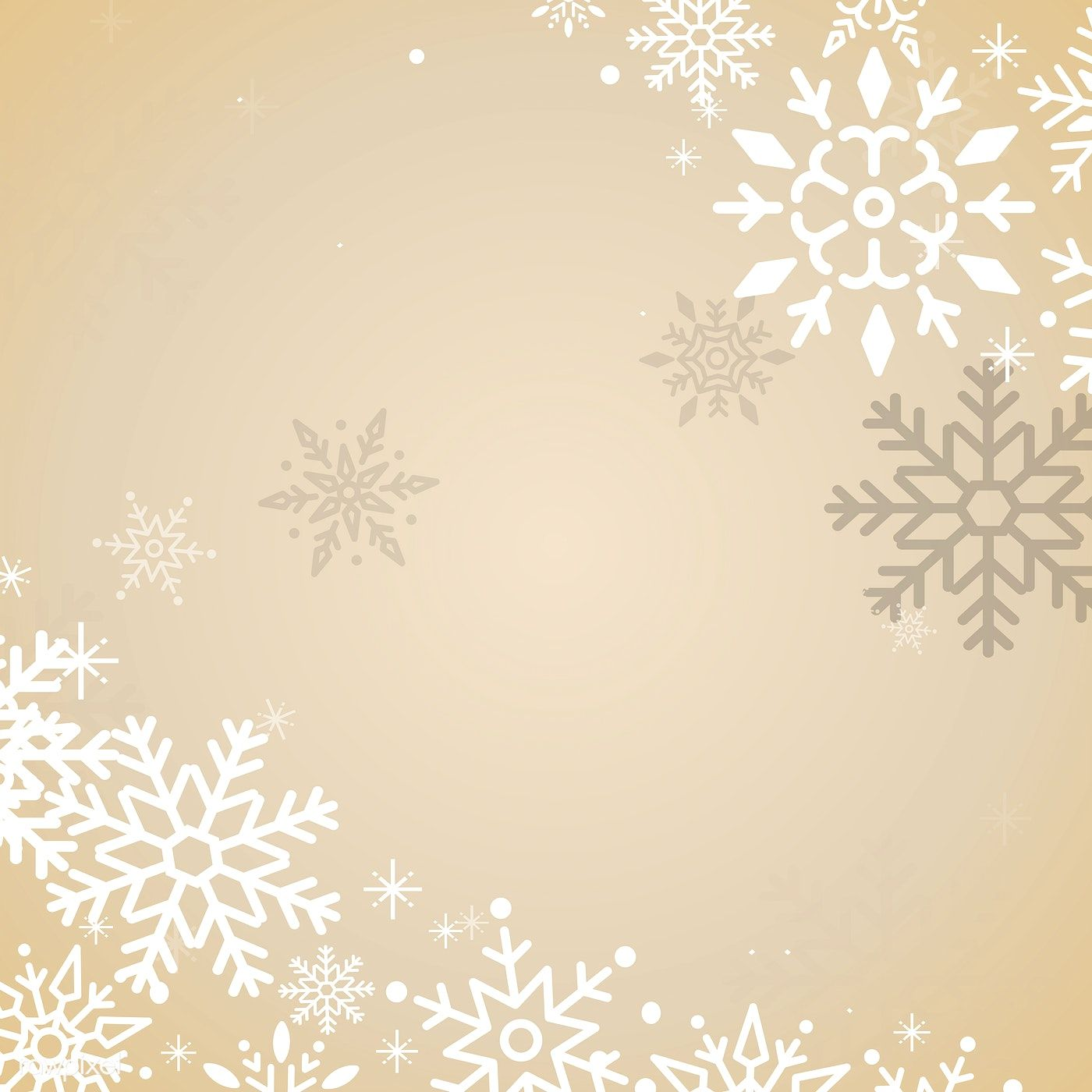 Gold Christmas winter holiday background with snowflake