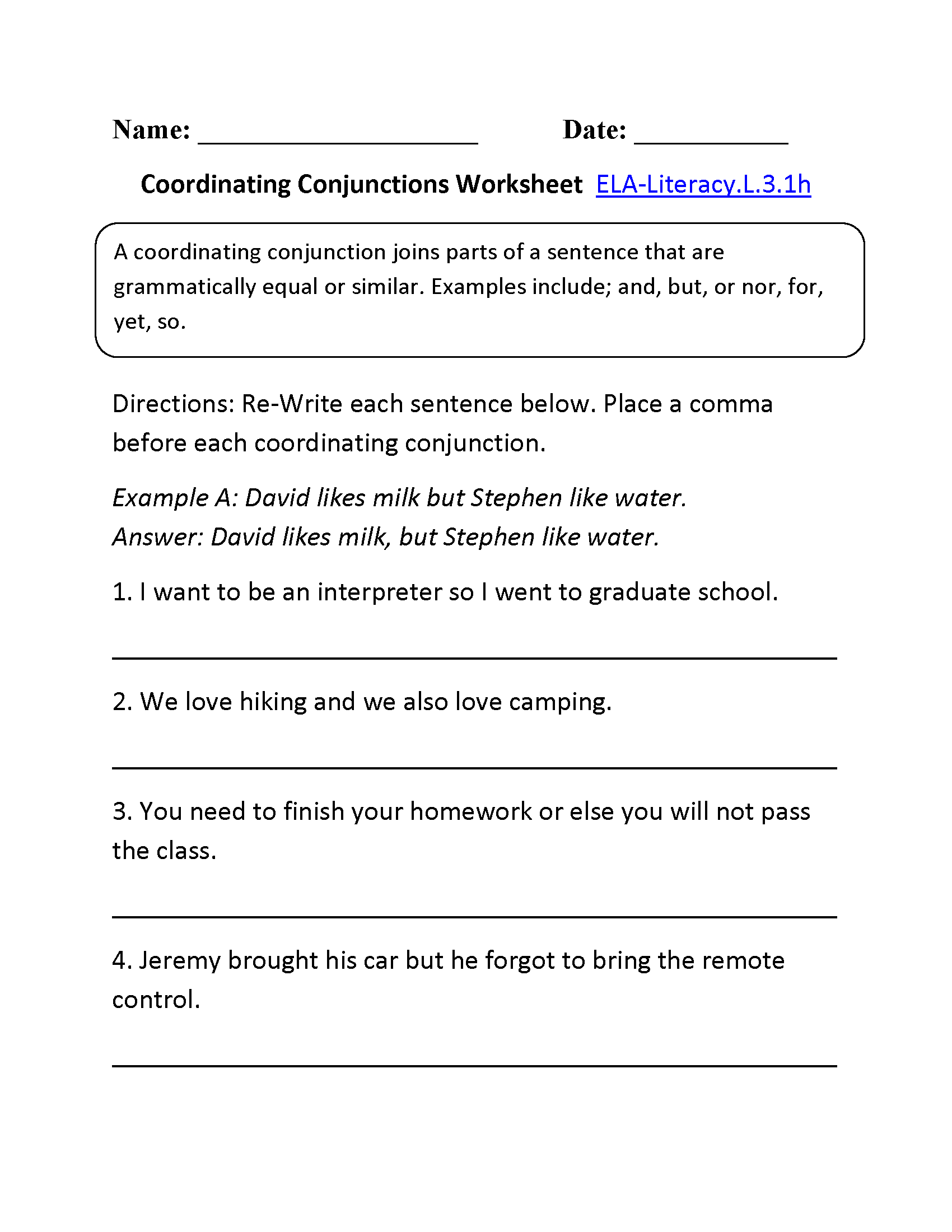 Coordinating Conjunctions Worksheet 1 L 3 1