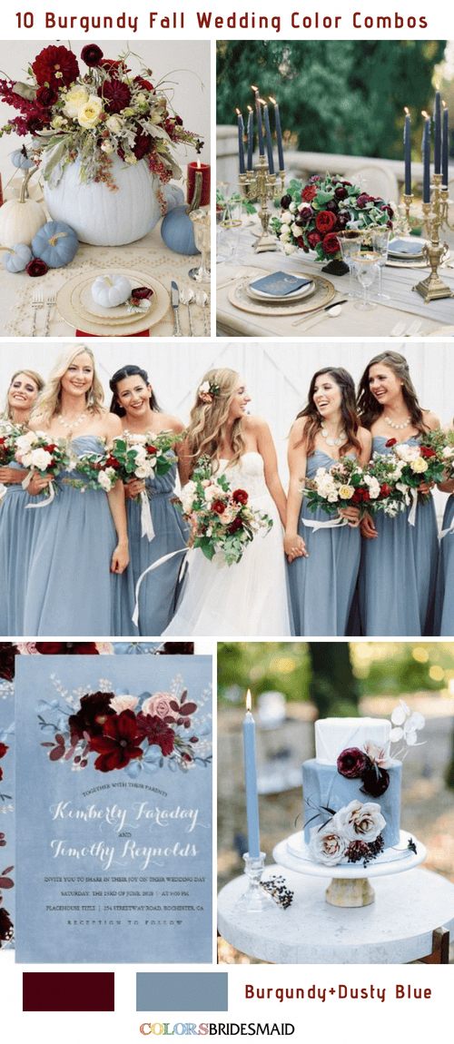 Fall wedding colors burgundy and dusty blue
