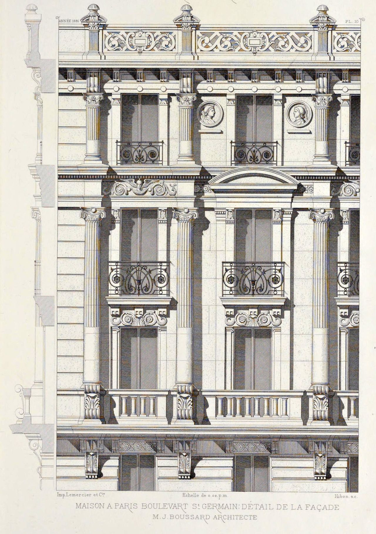 detail of elevation of an apartment building on boulevard saint