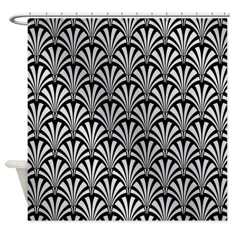 Elegant Black And Silver Art Deco Shower Curtain By Chevron