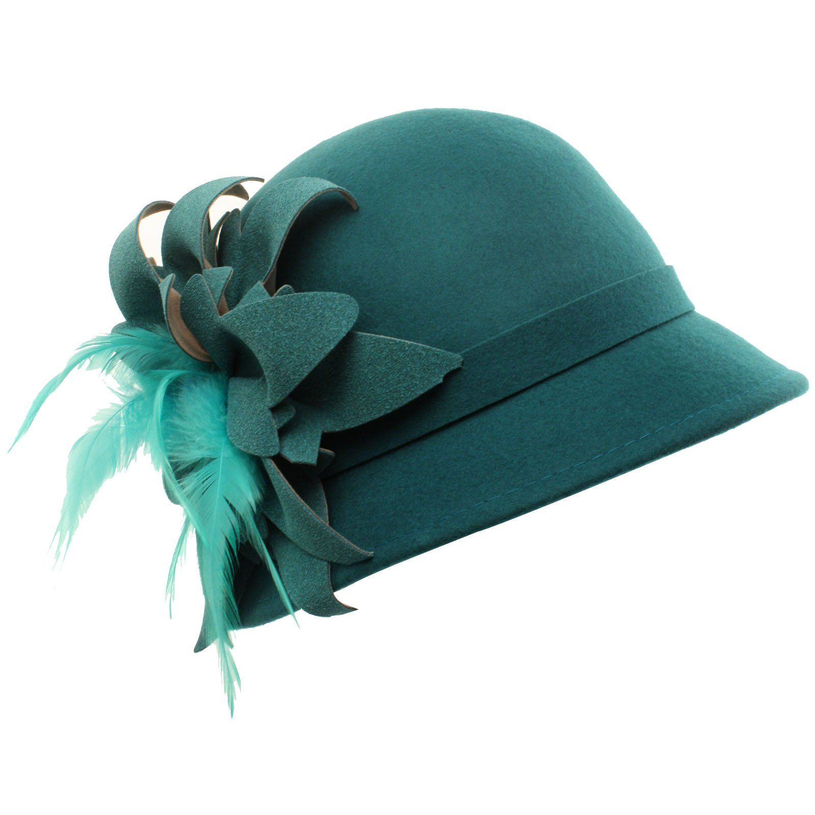 117335bb6f6 Winter Wool 1920s Classy Feathers Bunched Petal Floral Cloche Bucket Hat  Teal