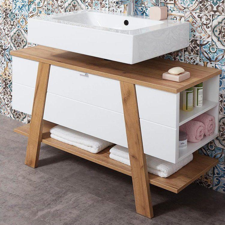 Badezimmer Waschbecken Unterschrank Sopot 01 In Supermatt Weiss Mit