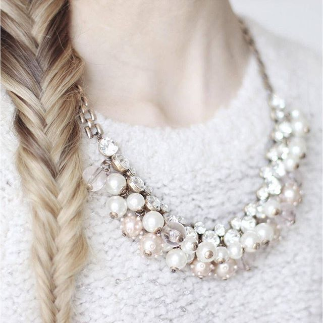 Pearl And Diamond Statement Necklace - Happiness Boutique