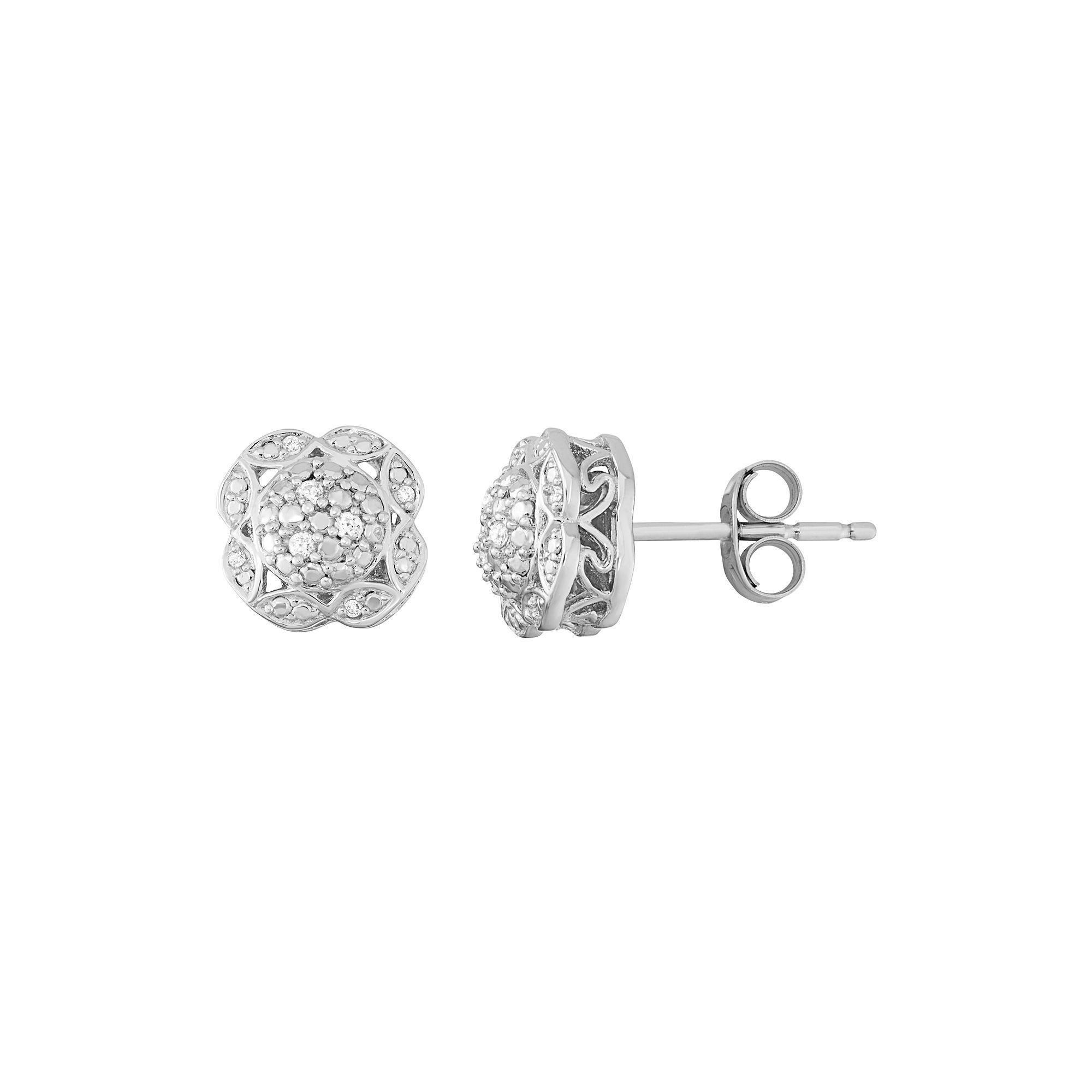 1eedc5d01544d Simply Vera Vera Wang Sterling Silver Diamond Accent Flower Stud ...